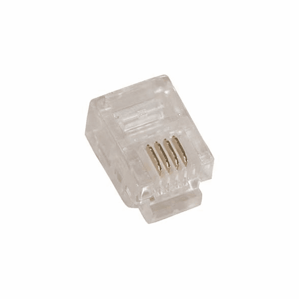 RJ11 6P4C ( 6 Position, 4 Conductor ) Plug for Solid Round Wire - 10 Pack