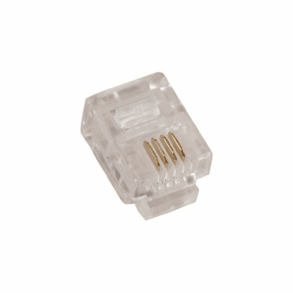 RJ11 6P4C ( 6 Position, 4 Conductor ) Plug for Stranded Flat Wire - 10 Pack