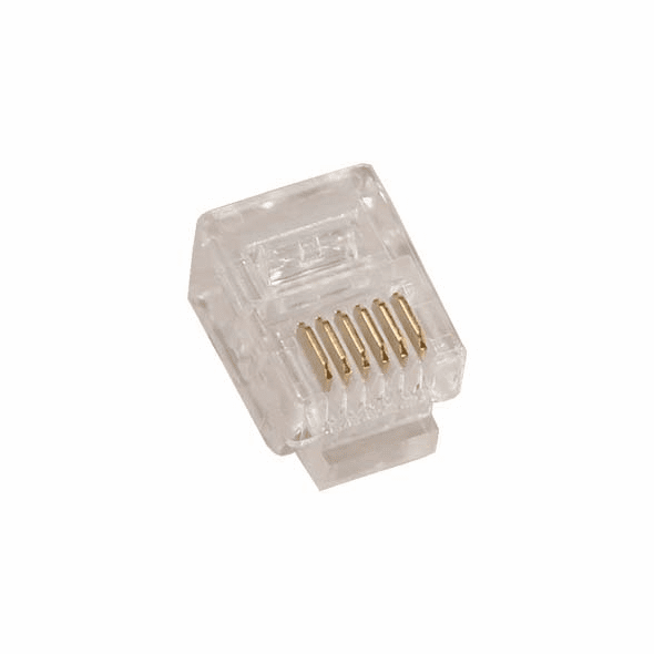RJ12 6P6C ( 6 Position, 6 Conductor ) Plug for Stranded Flat Wire - 10 Pack