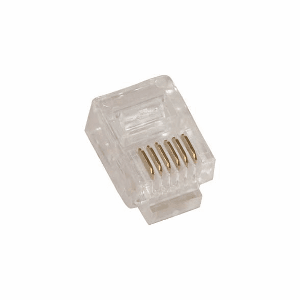 RJ12 6P6C ( 6 Position, 6 Conductor ) Plug for Stranded Round Wire - 10 Pack