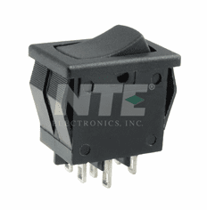 NTE 54-073 Rocker Switch DPDT On-None-On 8a 125vac snap-in solder lug terminals