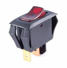 NTE 54-517 Rocker Switch illuminated miniature snap-in SPST Off-None-On 16a 125vac neon red actuator .250 qc