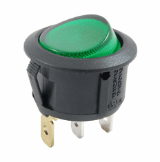 NTE 54-529 Rocker Switch illuminated round hole SPST 10a 250vac On-None-Off green 12vdc led lamp .187 qc tabs