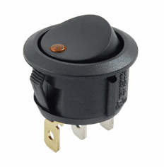 NTE 54-535 Rocker Switch illuminated round hole SPST 16a 125vac On-None-Off amber led lamp .187 qc terminals