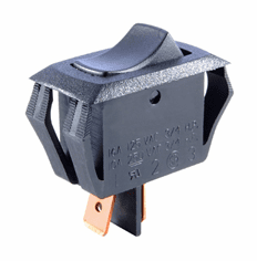 NTE 54-059 Rocker Switch SPST Off-None-On miniature snap-in 16a 125vac visi red actuator .250 inch qc terminal