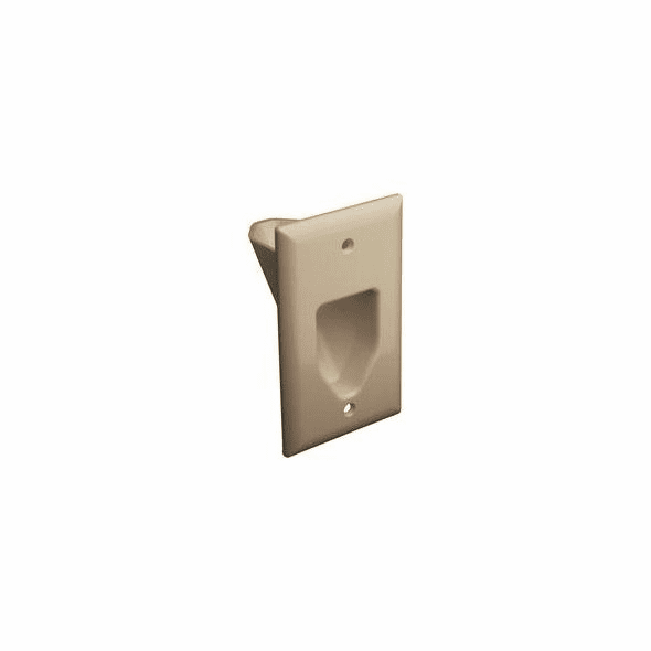 Single Gang Recessed Low Voltage Cable Wall Plate - Ivory