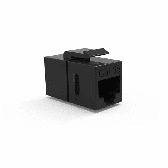 Single Inline Cat5e Keystone Coupler for Wall Plates - Black