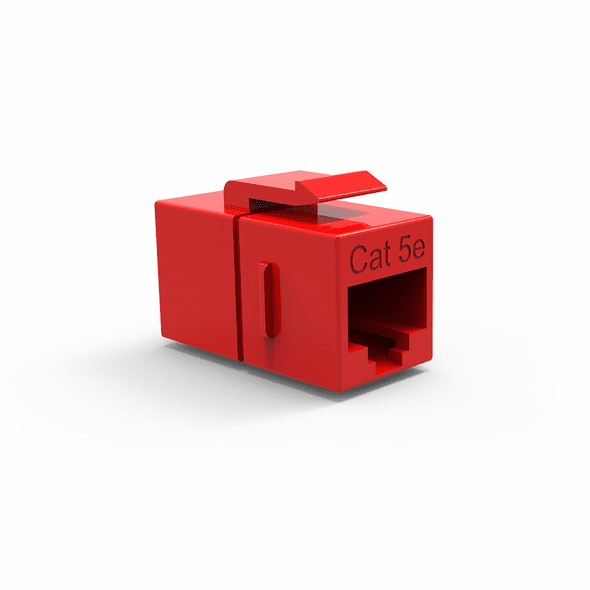 Single Inline Cat5e Keystone Coupler for Wall Plates - Red