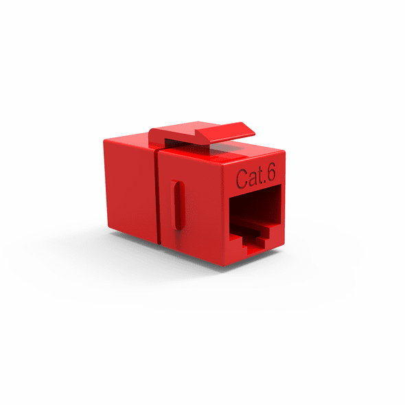 Single Inline Cat6 Keystone Coupler for Wall Plates - Red