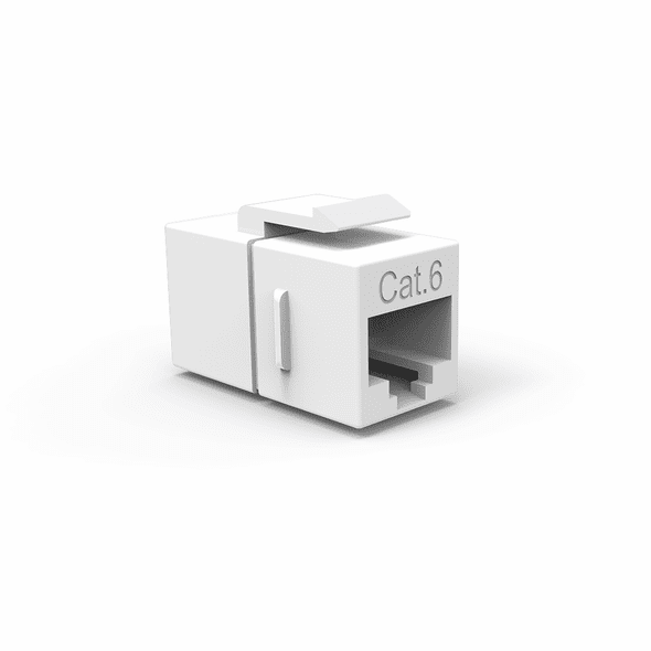 Single Inline Cat6 Keystone Coupler for Wall Plates - White