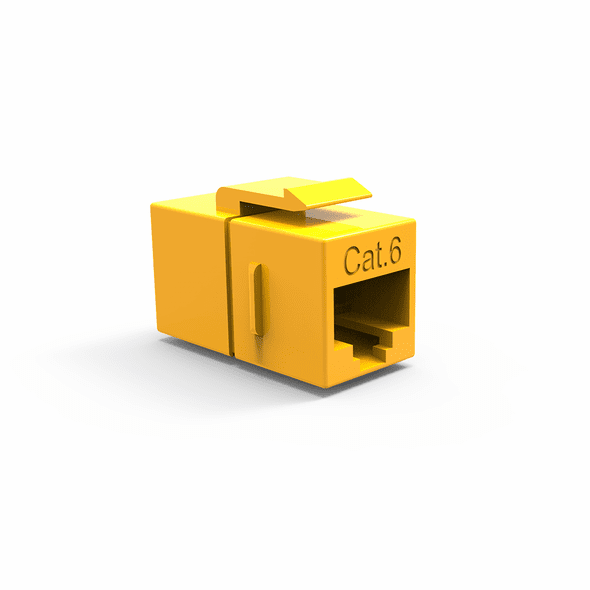 Single Inline Cat6 Keystone Coupler for Wall Plates - Yellow