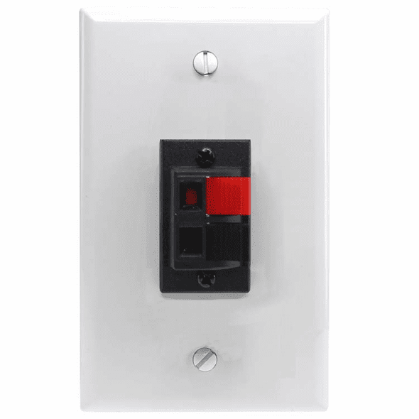 Spring Clip Wall Plate For Audio Speaker Wires with 2 Terminals