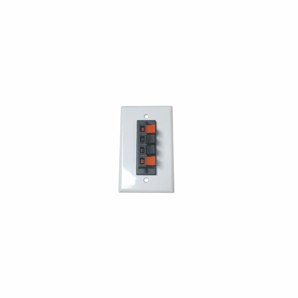 Spring Clip Wall Plate For Audio Speaker Wires with 4 Terminals