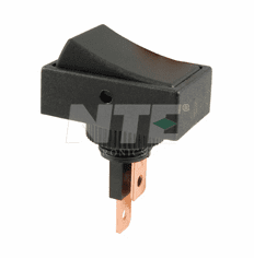 NTE 54-709 Switch Rocker SPST 20a 12vdc On-None-Off black body black Rocker .250 inch quick connect terminals