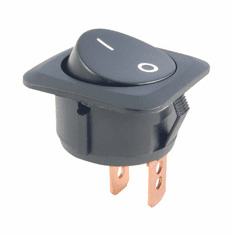 NTE 54-733 Switch Rocker SPST 25a 12vdc On-None-Off black with white o - legend .250 inch qc terminals