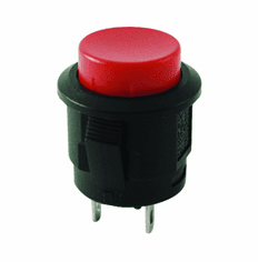 NTE 54-385A Switch round Pushbutton SPST Off-On red actuator solder lug terminal .700 inch mounting hole