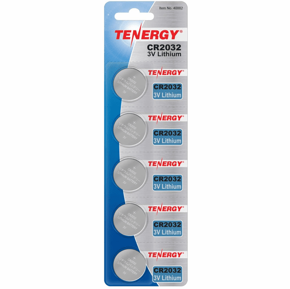 Tenergy 2032 3V Lithium Coin Cell Batteries, 5 pack