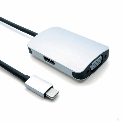 USB Type C Male to VGA and HDMI Adapter