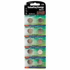 ValuePak Energy AG12 Silver Oxide Button Cell Batteries, 10 pk