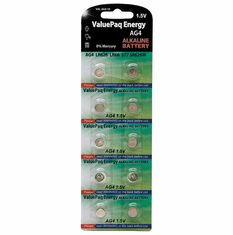 ValuePak Energy AG4 Silver Oxide Button Cell Batteries, 10 pk
