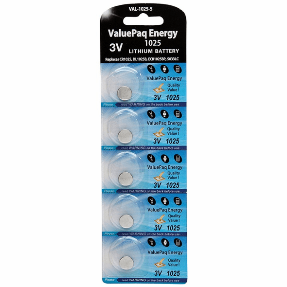 ValuePaq Energy 1025 Lithium Coin Cell Batteries, 5 pk