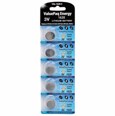 ValuePaq Energy 1620 Lithium Coin Cell Batteries, 5 pk