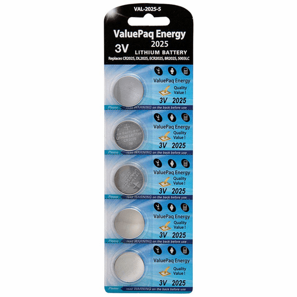ValuePaq Energy 2025 Lithium Coin Cell Batteries, 5 pk