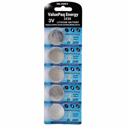 ValuePaq Energy 2430 Lithium Coin Cell Batteries, 5 pk