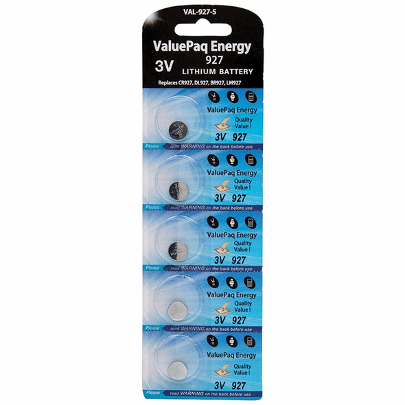 ValuePaq Energy 927 Lithium Coin Cell Batteries, 5 pk