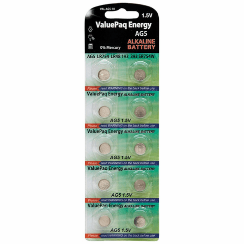 ValuePaq Energy AG5 Silver Oxide Alkaline Coin Cell Batteries, 10 pk