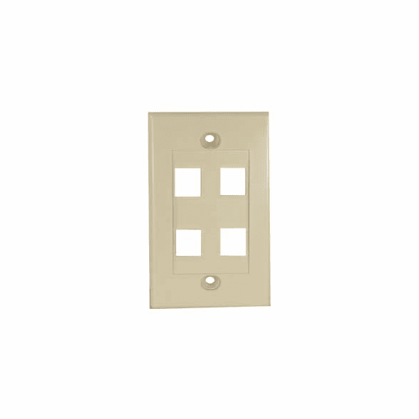 Wall Plate for Keystone Jacks, Four Port, Ivory