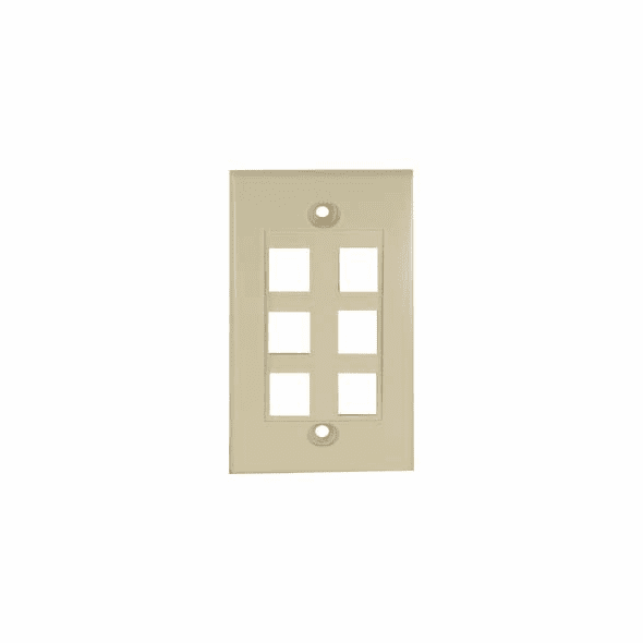 Wall Plate for Keystone Jacks, Six Port, Ivory