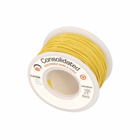 Yellow 25 Foot 20 AWG stranded hook-up wire