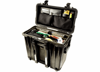 Pelican 1440 Case With Padded Office Divider Set & Lid Organizer BLACK