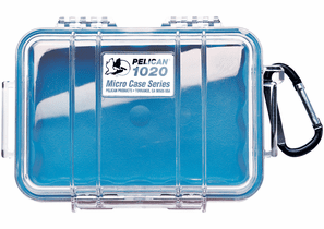 Pelican Micro Case # 1020 - Clear With Blue Liner