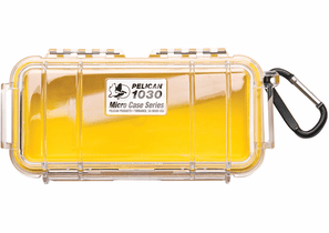 Pelican Micro Case # 1030 - Clear With YELLOW Liner