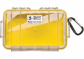 Pelican Micro Case # 1040 - Clear With YELLOW Liner