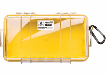 Pelican Micro Case # 1060 - Clear With YELLOW Liner