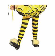Matching Yellow & Black Striped Bumble Bee Girls Tights for Halloween Costume by Rubie's