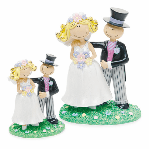 "4"" Comical Bride and Groom Figurine"