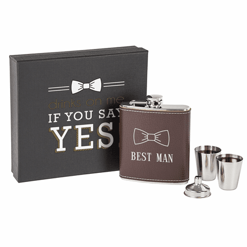 Best Man Leather Wrapped Flask Set, Brown