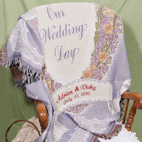Embroidered Wedding Throw Blanket