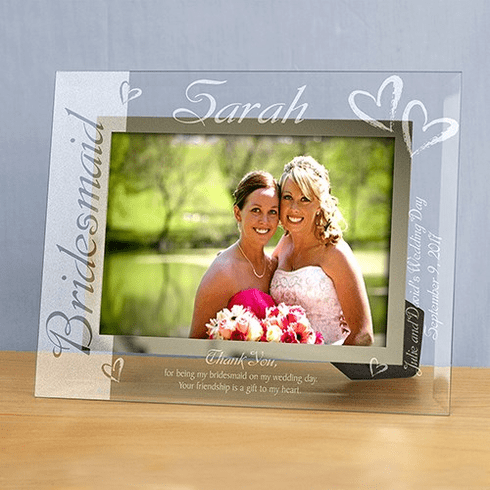Engraved Bridal Party Glass Frame