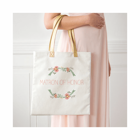 Matron of Honor Floral Canvas Tote