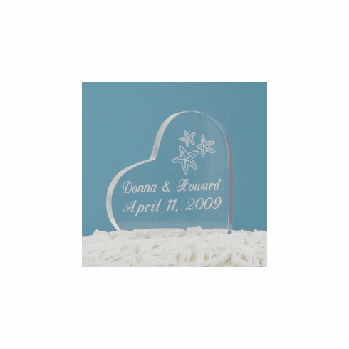 Personalized Beach Wedding Cake Topper - Heart