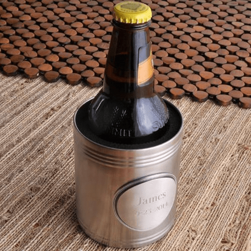 Personalized Can Cooler with Pewter Medallion