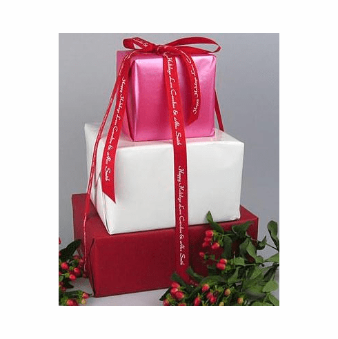 """Personalized Gift Ribbon Polyester Textured 7/8"""" Wide"""