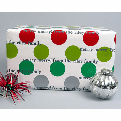 Personalized Gift Wrap Holiday Dots