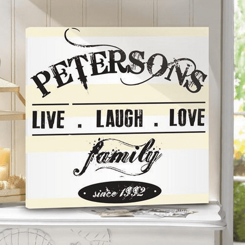 Personalized Live.Laugh.Love Canvas Sign