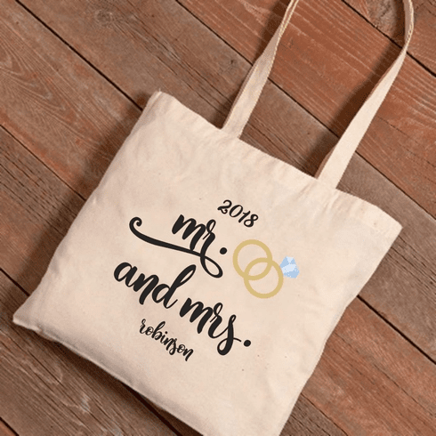 Personalized Mr. & Mrs. Wedding Rings Canvas Tote